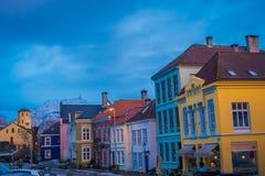 卑尔根,挪威- 2018年4月03日:华美的传统房子在老镇卑尔根,是第二大城市  免版税库存照片