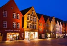 卑尔根,挪威- 8月02 :联合国科教文组织世界遗产名录站点-布吕根 库存照片