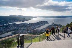 卑尔根,挪威- 6月15,2017 :观点卑尔根是的城市 库存照片