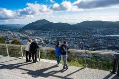 卑尔根,挪威- 6月15,2017 :观点卑尔根是的城市 库存图片
