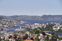 卑尔根,挪威airial视图 免版税图库摄影