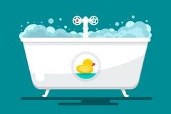 卑鄙 与鸭子的传染媒介Bathtube 库存例证