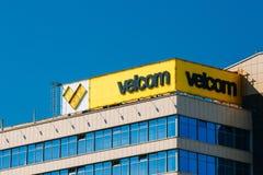 单一的企业Velcom商标  Velcom回报流动电信 库存图片