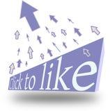 单击facebook fanpage喜欢 库存图片