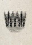 单图espalier蛇麻草庭院贷方,在米黄宣纸背景 免版税库存照片