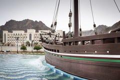 单桅三角帆船苏哈尔在马斯喀特 库存图片