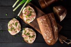 单片三明治用酸奶干酪、罐装金枪鱼和葱在黑木背景 库存照片