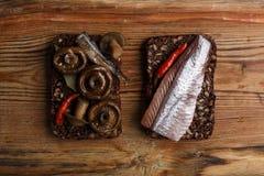 单片三明治或smorrebrod 库存图片