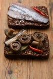 单片三明治或smorrebrod 库存照片