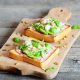 单片三明治用鲕梨、莴苣、蓬蒿、南瓜籽和乳脂状的桃红色甜菜调味 库存照片