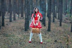 单独一件红色雨衣的美丽的女孩在森林。 免版税库存照片