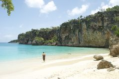 单独在海岛海滩 库存图片