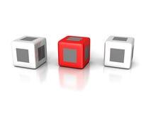 单独在白色背景的概念红色立方体 免版税图库摄影