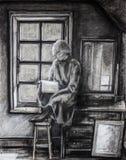 单独女孩阅读书 库存照片