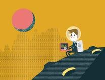 单独工作在行星的商人 企业领导构思设计 免版税图库摄影