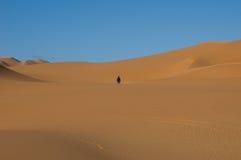 单独沙漠沙丘人撒哈拉大沙漠 免版税图库摄影