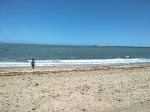 单独海滩 免版税库存照片