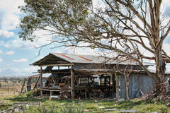 单独的落的农厂老棚子 图库摄影