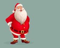 单独站立微笑的圣诞老人 图库摄影