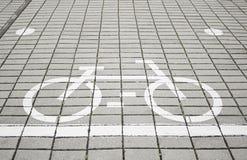 单独自行车骑自行车者路符号 库存图片