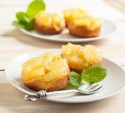 单独菠萝倒置型水果蛋糕 库存照片