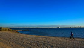 单独走在圣Kilda海滩澳大利亚的妇女 库存照片