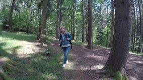 单独走在森林赞赏的自然的Eco友好的少妇在晴天- 股票录像