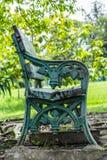 单独长凳在绿色围场 库存图片