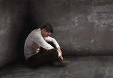 单独绝望商人 孑然和失败概念 免版税图库摄影