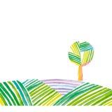 单独绿色风景和立场 免版税图库摄影