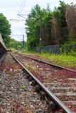 单磁道铁路线在农村乡下 免版税库存照片