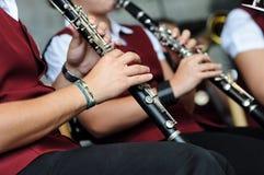 单簧管音乐家使用 图库摄影