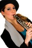 单簧管音乐执行者 免版税库存照片