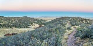 单线的自行车足迹和辗压大草原 图库摄影