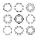 单色传统部族圆的框架 套9个元素 库存例证