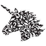 单色形状,不可思议的独角兽的剪影在黑白的 皇族释放例证