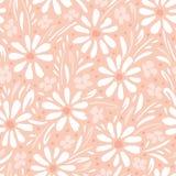 单色手画雏菊和叶子在桃子桃红色背景传染媒介无缝的啪答声 春天夏天花卉图案 向量例证