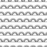 单色抽象乱画背景 无缝的几何向量模式 在白色的黑曲拱 现代美术deco弧设计 库存例证