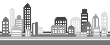 单色水平的都市风景横幅,现代建筑学 免版税库存照片
