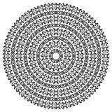 单色种族无缝的纹理 在白色隔绝的圆的装饰传染媒介形状 东方蔓藤花纹样式 库存例证