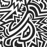 单色非洲几何无缝的样式 免版税库存照片