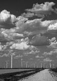 单色风轮机农场西部得克萨斯拉博克 库存照片