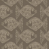单色鱼无缝的样式 图库摄影