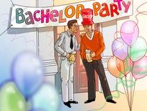 单身聚会新郎和最佳的人饮用的啤酒例证 免版税库存图片