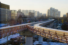 单轨铁路车在莫斯科在冬天 免版税图库摄影