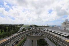 单轨铁路车轨道在冲绳岛,日本 库存照片