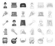单音的比萨和的比萨店,在集合收藏的概述象的设计 职员和设备传染媒介标志股票网 皇族释放例证
