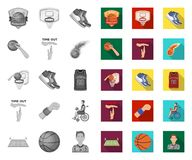 单音的篮球和的属性,在集合收藏的平的象的设计 篮球运动员和设备传染媒介标志 向量例证