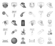 单音的篮球和的属性,在集合收藏的概述象的设计 篮球运动员和设备传染媒介标志 向量例证
