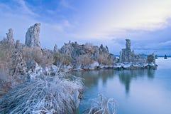 单音黎明的湖 图库摄影